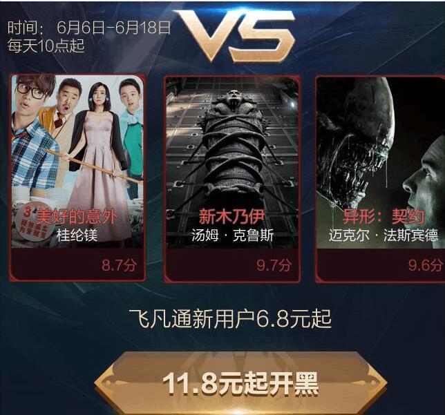 飞凡通app新用户可享受6.8元起特惠观影 电影票优惠 优惠福利  第3张