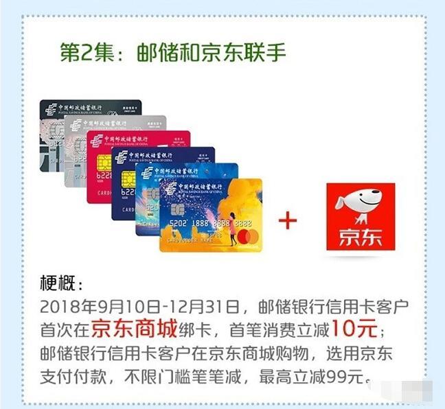 美团京东首次绑定定邮储银行信用卡支付立减 优惠卡券 优惠福利  第1张