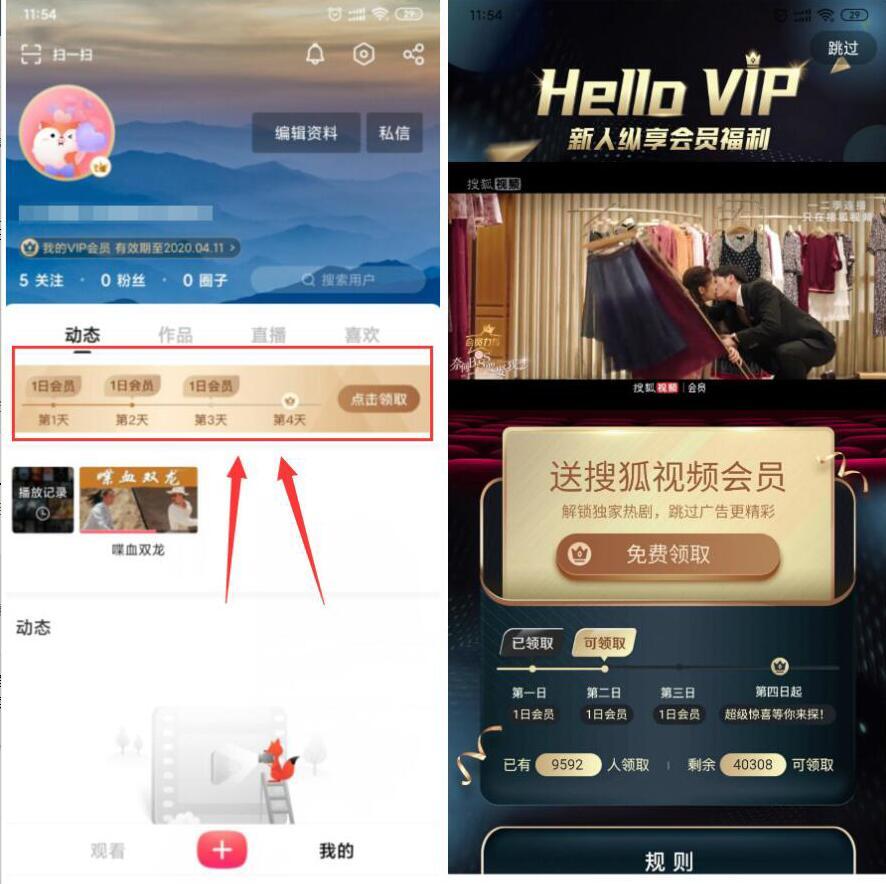 搜狐视频APP每天签到免费领取3天搜狐视频会员 搜狐视频会员 免费会员VIP 活动线报  第2张