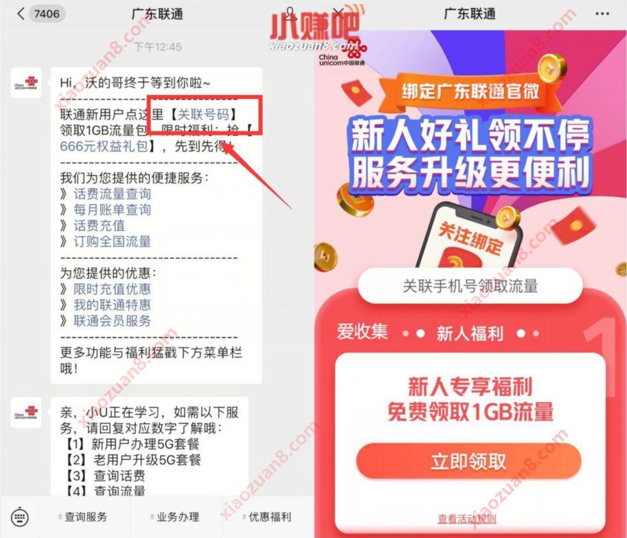 广东联通公众号,新人福利领取1G广东联通流量 广东联通 免费流量 活动线报  第3张