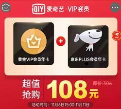 108元购买1年爱奇艺会员+1年京东PLUS